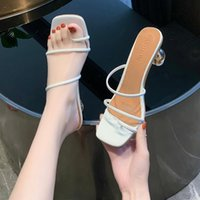 Sandals 2021 Summer Women Slides High Square Block Heel Slippers Black White Red Casual Peep Toe Outdoor Slip-on Lady