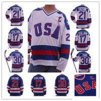 1980 Milagro en el equipo de hielo EE.UU. 30 Jim Craig Jersey 17 Jack O'Callahan 21 Mike Eruzione Blue Blue White Steins Hockey Jerseys