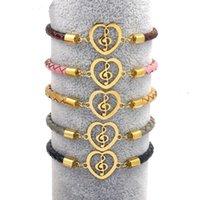 Golden Titanium Acciaio Amo Love Heart Pendant Bracciali 4mm Tessuto Bracciale in Pelle Genuine Braccialetto Musicale Braccialetti di fascino per le donne regalo dei gioielli