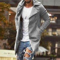 Men's Trench Coats Casual Solid Mid Windbreaker Fashion Long Sleeve Turn-down Collar Jacket Men Autumn Slim Zipper Streetwear Cardigan