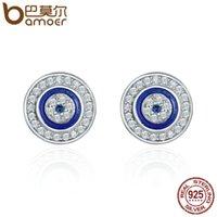Bamoer heißer verkauf authentisch 925 sterling silber blau auge runde ohrstecker für frauen mode sterling silber schmuck sce148 210312