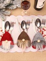 Swedish Santa Gnome Tableware Bag Fork Knife Cutlery Holder Silverware Bag Christmas Party Table Dinner Decor OWE10386