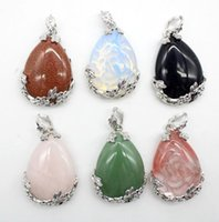 Charms 6pcs lot Natural Stone Crystal Alloy Water Drop Beads Pendants Mixed Colors DIY For Handmade Necklace Lucky Healing Jewelry