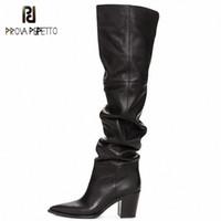 Prova Perfetto Black Over на коленях Остальные носки коренастые каблуки обувь на молнии мягкие колены высокие сапоги женщины ботины Mujer 2019 I9VK #