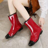 Summer Womens Fashion Waterproof Rain Boots Non-Slip Low-Top Korean-Style Mid-Calf Lady Rain Boots Outdoor Adult Student Rain Shoes