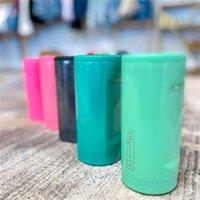 Slanke dubbelwandige roestvrijstalen geïsoleerde kan mokkoeler voor 12 oz Slim CAN's Thermos Cup (Glitter Mermaid) 157 S2