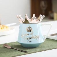 التاج الإبداعي السيراميك القدح الوردي لطيف القهوة القدح كأس الحليب الشمال مع أغطية ملعقة فنجان القهوة أكواب مياه عطلة هدية هدية 113 V2
