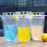 100pcs 500 ml de boisson en plastique haut de 500 ml de boisson alcoolisée sac de conditionnement de jus de fruits Juice de fruit de la fête de mariage portable Pochettes de mariage FY4061