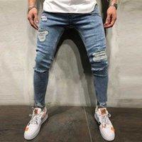Men's Jeans Mens Skinny Ripped Grid Stretch Denim Pants Casual Fitness Bodybuilding Pocket Full Length Sports Slim Trousers