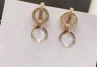 Designer Lettera Orecchino 2021 Nuovo Golden Full Diamond Nappe Orecchino con scatola regalo di alta qualità Fashion Luxury Spedizione gratuita 022121
