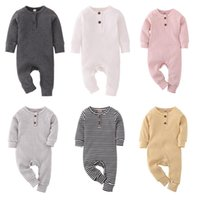 Jumpsuits Spring Autumn Clothing Sets Born Baby Girl Boy Romper Ribbed Clothes Set Knitted Cotton Jumpsuit Solid Toddler Outfits