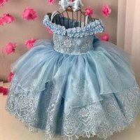 Light Sky Blue Lace Ball Gown Backless Flower Girl Dresses For Wedding Beaded Toddler Pageant Gowns With Bow Off Shoulder Kids Prom Dress