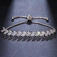 Charm Bracelets Ekopdee Fashion Cubic Zirconia Leaf Bracelet Stone For Women Luxury Zircon Female Wedding Jewelry 2021 Gift
