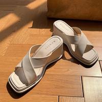 Recién llegados Dropship 2020 Platform Summer Summer Slippers for Woman Peep Toe Cómodo Cuña Tacones Altos Mule Bombas Mujer Party Shoes X584 #