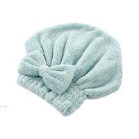 Chapeaux de cheveux secs rapides Chapeaux de serviette emballée Salle de bain Douche Casquettes Microfibre Bow Femmes Filles Dame Bays Cap Dwe10230