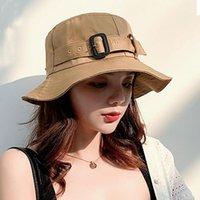 Wide Brim Hats Korean Women Summer Solid Color Bucket Hat Elegant Buckle Belt Outdoor Sun Protection Beach Fisherman