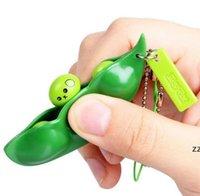 Party Geschenk Extrusion Pea Bohnenspielwaren niedlich Squeeze Dekompression Sojabohnen Edamame Squeezes Spielzeug Keychain Anhänger HWA6106