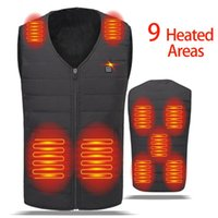 Men's Vests 9 Areas Winter Men Women Electric Heated Vest USB Smart Thermal Heating Clothing Hunting Hiking Jackets Heat Fever Warm