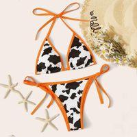 Women's Swimwear Bikini 2021 Cow Print Swimsuit Women Two Pieces Push Up Set Halter Biquini Brazilian Summer Bathing Suit #J2P