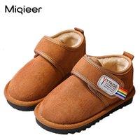 Miqieer зимние дети снежные ботинки для мальчиков Gilrs плюшевые теплые детские туфли корейский стиль мягкие нескользящие повседневные дети лодыжки короткие сапоги