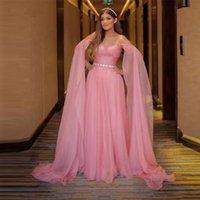 Blush Pink Chiffon Prom Dresses Off the Shoulder Cape Sweetheart Pleats Elegant Long Evening Gowns Beading Sash Robe De Soiree