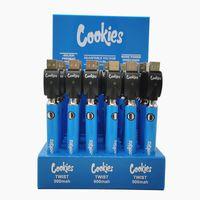 Çerezler Büküm Vape Pil Ön ısıtma 510 Konu Vapes Kalem E Sigara Piller 900 mAh Şarj Edilebilir Ayarlanabilir Gerilim Buharlaştırıcı Kalemler USB Şarj