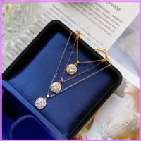 2021 New Women Necklace Round Drill Designer Necklaces Luxury Mens Fashion Lady Jewelry For Gifts Wedding Party Pendant Necklace D218264F