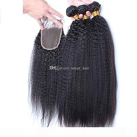 9A Grade Mongolian Afro Kinky Straight Hair With Closure 4Pcs Lot Italian Coarse Yaki Lace Top Closure Pieces 4x4 With Hair Bundles