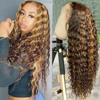 Lace Wigs 30 Inch Highlight Deep Wave Wig Transparent Frontal Ombre Curly Front Human Hair T Part