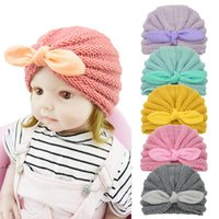 Winter Baby Knitted Hat Candy Color Bunny Ears Woolen Hats Infant Pullover Caps Newborn Baby Knotted Cap Accessories DWB11387