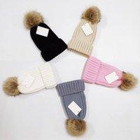 2021 Toptan Beanie Yeni Kış Kapaklar Şapka Kadın Bonnet Kalınlaşmak Beanies ile Gerçek Rakun Kürk Ponpons Sıcak Kız Kapaklar Snapback Ponpon Beanie