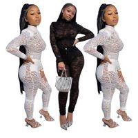 Sexy Lace Mesh Sheer zweiteilig Set 2021 Frühlingskleidung Top + Hose Anzug Club Party Nacht Geburtstag Outfits Für Frauen Passende Sets