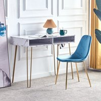Dining Room Furniture D&N Beauty Table consoles side end modern marble MDF top, sturdy glod metal legs for bedroom, living room, Kitchen,
