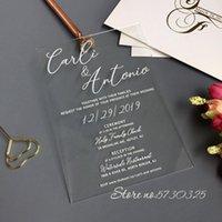 Hochzeit Acryleinladung Rosa Blume Rosen Hochzeit Einladen Benutzerdefinierte Acryl Hochzeitseinladung Karte Einladung Mariage Box Karten
