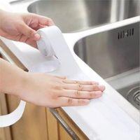 3.2mx38 ملليمتر النفس pvc بالوعة حمام ختم الشريط الأبيض الشريط للماء حمام الحمام دش جدار المطبخ لاصق ملصقا