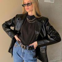Women's Jackets 2021 Fashion Locomotive Style PU Coat Girls Long Sleeve Slim Straight Cool Lapel Collar Tops Outerwear Street