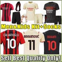 21 22 fãs Versão do jogador AC Futebol Milan Balr. jerseys 2021 2022 ibrahimovic tonali mandzukic kessie homens kits kits de futebol conjunto completo meias terceiro kaka theo brahim