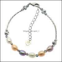 Bracelets Jewelry Fashionable Freshwater 6-8Mm Oval Mixed Color Bracelet Female Charm Pearl Jewelry Wholesale Drop Delivery 2021 Vbiok