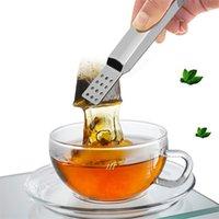 Cuchara de metal Mini Sugar Clip Tea Hoja Strainer Reutilizable Acero inoxidable Bolsa de té Pinza Bolsa de té SPEEZER TITULAR TITULAR ARRIPTO 100PCS HHE8627