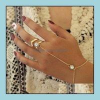Boncuklu, Strands Bilezikler JewelryGold Büyük Kristal Yüzük Bilezik Kadınlar için Bilek Takı Moda El Geri Zincir Bilezik Kadın Kol Bağlantı Orna