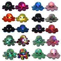 DHL ShippingLighted Reversible Flip Octopus Stuffed Doll Soft Simulation Plush Toys Color Chapter Plush Doll Filled Plush Child Toys