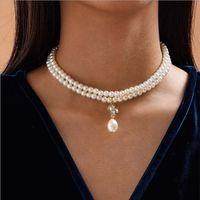 Luxus Strass Perlen Halsketten Zwei Ebenen 100% Natürliche Süßwasser Perle Choker Halskette Für Frauen Charme Schmuck Mode Geschenk