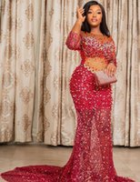 2021 Plus Size Arabic Aso Ebi Luxurious Mermaid Sparkly Prom Dresses Sheer Neck Beaded Sequined Evening Formal Party Second Reception Gowns Dress ZJ660