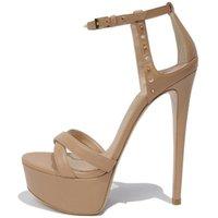 Sandals Women Stiletto High Heels Ankle Strap Platform Evening Party Dress Shoes Plus Size Crystal Rivet Lady Sandas 9-I-SL-6