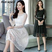 Casual Dresses 2021 Korean White Lace Sexy Midi Dress Autumn Vintage Plus Size Long Sleeve Women Elegant Bodycon Black Party Vestidos