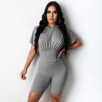 Frauen Trainingsanzüge 2 Stück Set Frauen Trainingsanzug Kurzarmanzüge Sommerkleidung Reine Farbe Bodycon Streetwear Lounge Wear Mode Anzug Matc