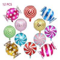 12pcs Ensemble de ballons de ballons colorés de bonbons de bonbons Set Ballon de feuille de sucette ronde pour la décoration de fête de mariage d'anniversaire