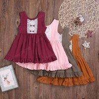 Kinder Kleidung Mädchen Sleeveless Solid Color Kleid Kinder Spitze Prinzessin Kleid 2021 Sommer Mode Boutique Baby Kleidung