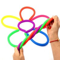 Fidget Abreact Descompressão Corda Brinquedo Flexível Colagem Noodle Ropes TPR Hyperflex Stripy String Neon Slings Stress Ferramentas de Ferramentas OWD5292