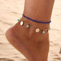 2 schichten weibliche Fußklets barfuß häkeln stein sandalen fußschmuck bein neue anklets auf fuß knöchel armbänder für frauen bein kette